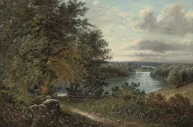 A wooded river landscape, a to
