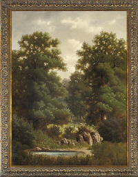 A figure in a wooded glade, a