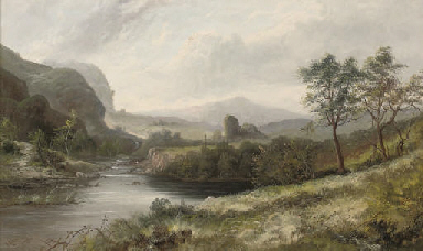 A river landscape with a ruin