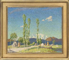 A summer landscape with snow c