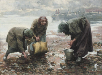Mussel gatherers on Oban Beach