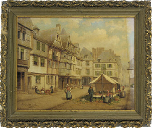 The market place at Lannion, B