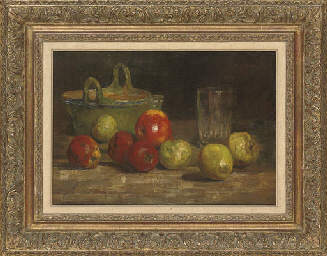 Apples, a basket and a glass,