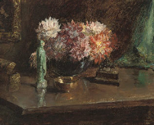 Chrysanthemums and figurines,