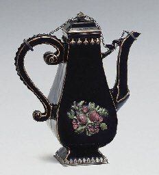 A BÖTTGER BLACK GLAZED RED STONEWARE SILVER-MOUNTED BALUSTER...