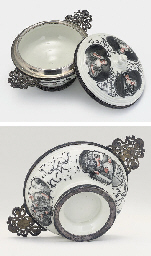 A MEISSEN SILVER-MOUNTED TWO-HANDLED ECUELLE, COVER AND STAN...