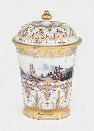 A MEISSEN BEAKER AND COVER (DE