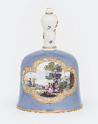 A MEISSEN FLAX-BLUE GROUND TAB