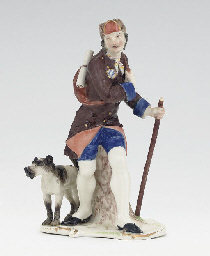 A NYMPHENBURG FIGURE OF A COUN