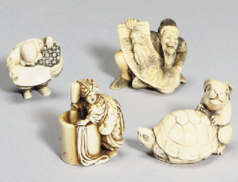 A group of ten Japanese ivory