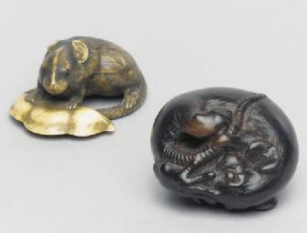 Two Japanese netsuke of mice,