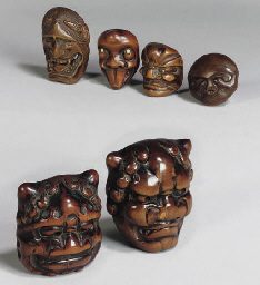 A group of six Japanese wood n