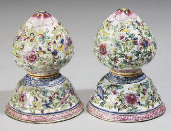 A Pair of Canton enamelled wai