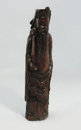 A Chinese bamboo figural carvi