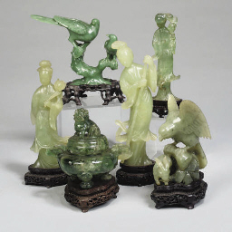 Six Chinese hardstone carvings