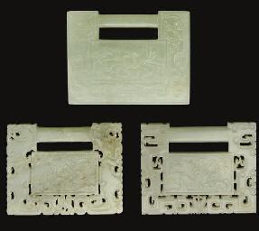 Three Chinese pale celadon jad