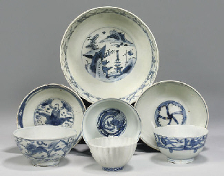 Seven Chinese blue and white b