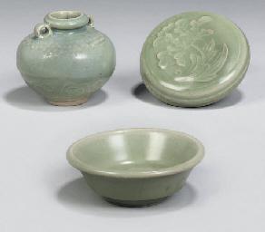 A Chinese celadon glazed circu