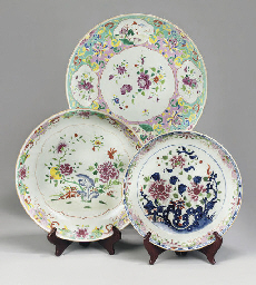 Three famille rose dishes, 18t