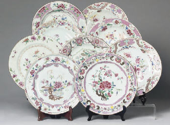 Nine Chinese famille rose plat