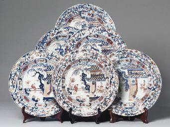 A set of six Chinese Imari pla
