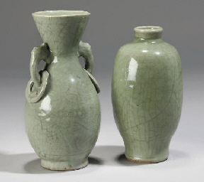 Two Chinese celadon vases, Min