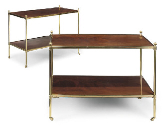 A PAIR OF MAHOGANY AND GILT-BR