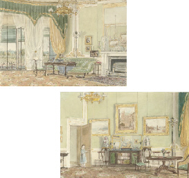 Two interiors of the drawing r