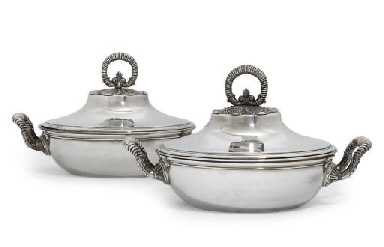 A PAIR OF FRENCH SILVER-PLATED