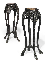 A PAIR OF CHINESE EBONISED HAR
