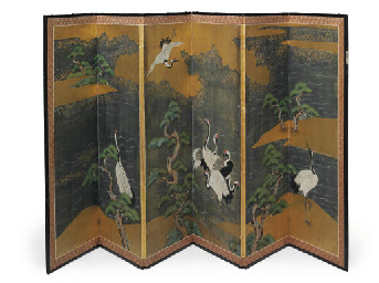 A JAPANESE SIX-LEAF SCREEN