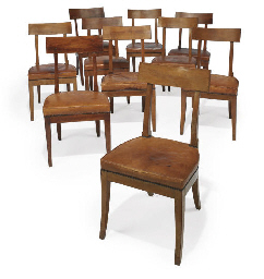 A HARLEQUIN SET OF NINETEEN DIRECTOIRE WALNUT SIDE CHAIRS