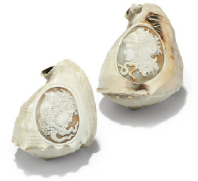 TWO NEAPOLITAN CARVED SHELLS