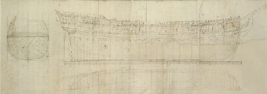 Dockyard drawing of a warship