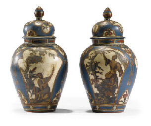 A PAIR OF PIEDMONTESE BLUE AND