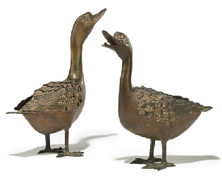 A PAIR OF JAPANESE BRONZE DUCK