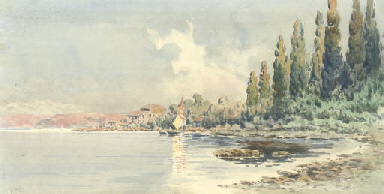 View of a bay with a villa and