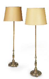 A PAIR OF BRASS AND VELVET-COV