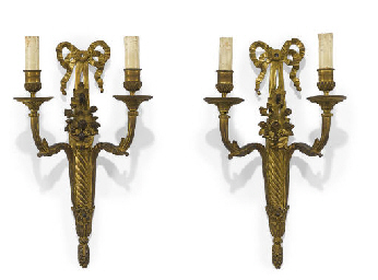 A PAIR OF FRENCH ORMOLU TWO BR