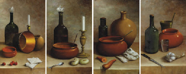 Still lifes of kitchen impleme
