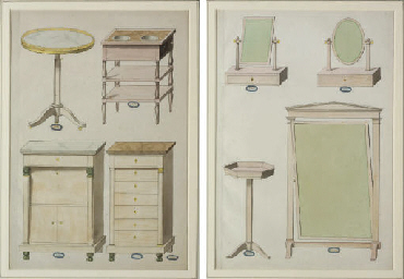 Four designs for furniture, in