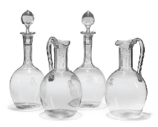 A PAIR OF MONOGRAMMED DECANTER