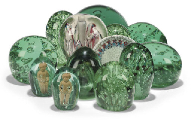 THIRTEEN VARIOUS GREEN GLASS 'DUMP' WEIGHTS