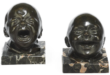 TWO FRENCH PATINATED BRONZE HE