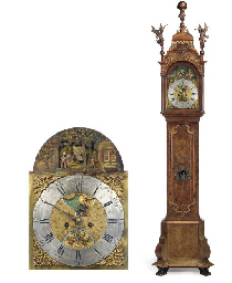 A Dutch walnut longcase clock