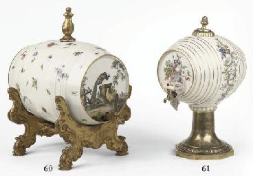 A Continental porcelain brass-