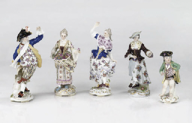 Five various Meissen figures