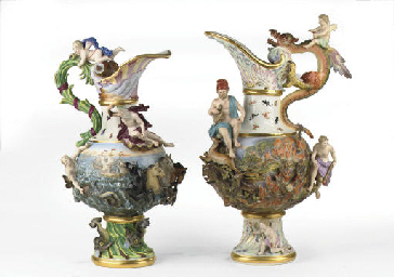 Two Meissen allegorical large