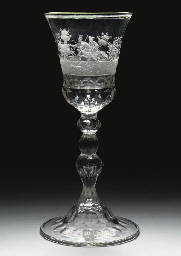 A Saxon-engraved faceted goble