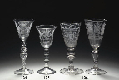 Two Dutch-engraved armorial goblets